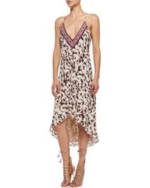 Embellished Leopard-Print High-Low Dress