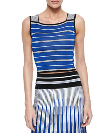Sleeveless Striped Crop Top