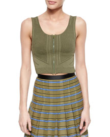 Sleeveless Zip-Front Crop Top, Olive