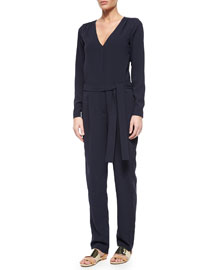 Long-Sleeve Tie-Waist Crepe Jumpsuit