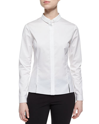 Noel Long-Sleeve Basic Button-Front Blouse