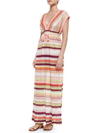 Pointelle Detail Zigzag-Print Maxi Caftan Dress, Pink