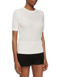 Whitney Short-Sleeve Cashmere Top