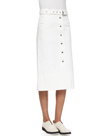 Branson Snap-Front Midi Skirt