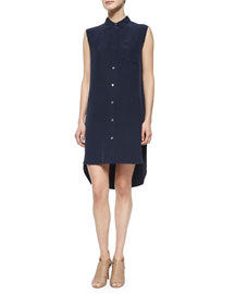 Le Sleeveless Shirtdress, Navy
