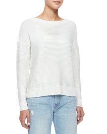 Long-Sleeve Rib-Knit Pullover Sweater, White