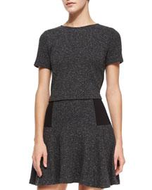 Bethanie Short-Sleeve Top, Gray Pattern