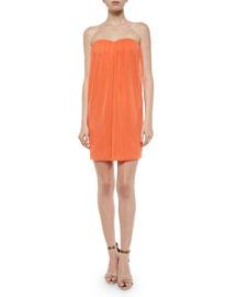 Jazz Center-Drape Strapless Dress, Coral