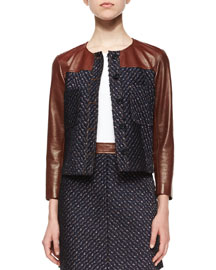 Tieron Leather-Sleeve Tweed Jacket