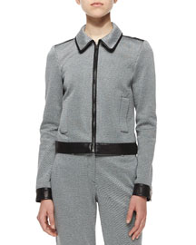Balvino Knit Jacket with Leather Trim
