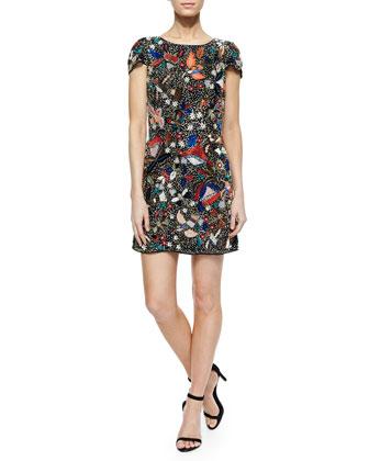 Ellen Beaded Sequined Mesh Dress
