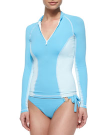 Hibiscus Blues Front-Zip Rashguard, Sky Blue