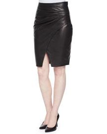 Karen Pleated-Side LambLeather Skirt