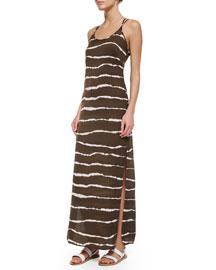 Dip-Dye Striped Maxi Dress