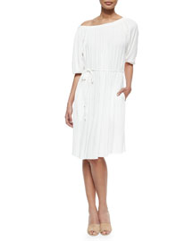 Charlotte Shirred Tie-Waist Dress, Coconut