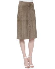 Flowy-Back Midi Suede Skirt