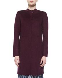 Collarless Wool Coat W/ Raised Seams