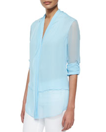 Alissa Tab-Sleeve Double Georgette Blouse