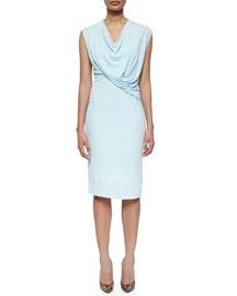 Linden Draped Jersey Sheath Dress