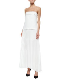 Brock Strapless Pleated Maxi Dress