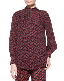 Temple Scarab-Printed Silk Shirt