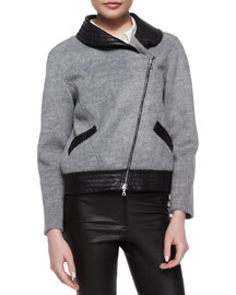Charlotte Soft-Textured Leather-Trim Jacket