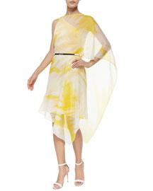 One-Shoulder Tie-Dye Short Dress