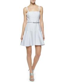 Belted Flounce-Hem Dress