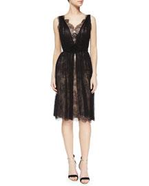 Sleeveless V-Neck Lace Tulle Overlay Dress