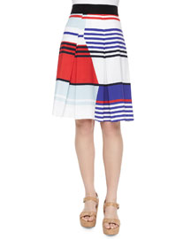 Marina Striped Pleated Skirt