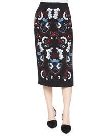 Haley Garland-Print Midi Pencil Skirt