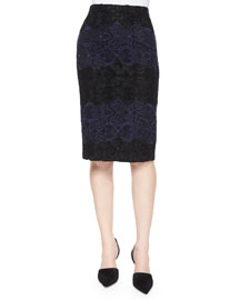 Davin Embroidered Pencil Skirt