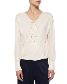 Draped-Front Silk Top W/ Self-Tie