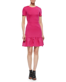 Lotus Dropped Ruffle-Hem Dress