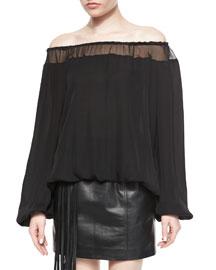 Off-the-Shoulder Silk Blouse, Black