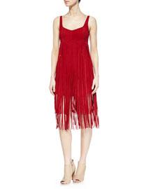 Suede Fringe Romper Dress, Dress