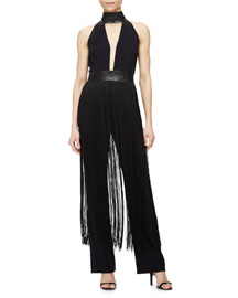Halter Jumpsuit with Fringe