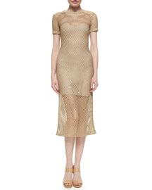 Short-Sleeve Mesh Midi Dress
