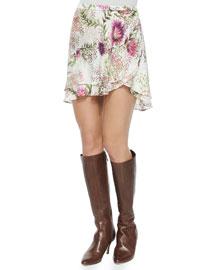 Floral-Print Short Flirty Skirt