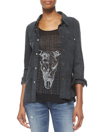 Western Suede Snap-Front Shirt