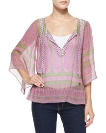 Entisse Sheer Silk Paisley Blouse, Pink/Clover