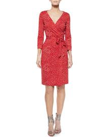 Ditzy Silk Polka-Dot Wrap Dress, Batik Red