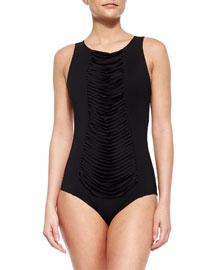 High-Neck Fringe-Panel One-Piece Swimsuit, Black