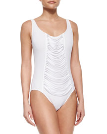 One-Piece Underwire Swimsuit with Fringe Front, White