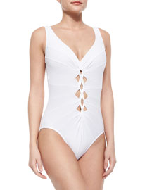 Knotted-Front V-Neck One-Piece Swimsuit