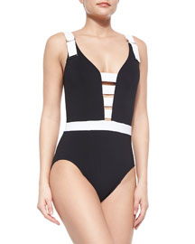 Strappy High-Back One-Piece Swimsuit, Black/White