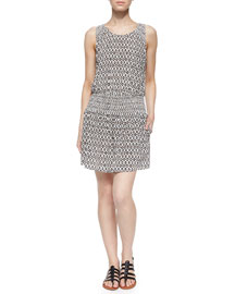 Lawska Printed Sleeveless Blouson Dress