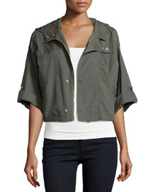 Marlin Cropped Nylon Anorak Jacket