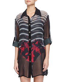 The Avenger Sheer Printed Silk Coverup