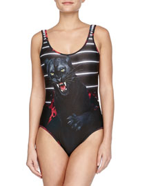 The Avenger Jaguar-Print Scoop One-Piece Swimsuit